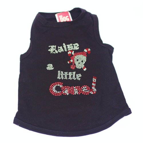 The Dog Squad Raise a Little Cane Tank Christmas T-Shirt for Pets, Small, Black