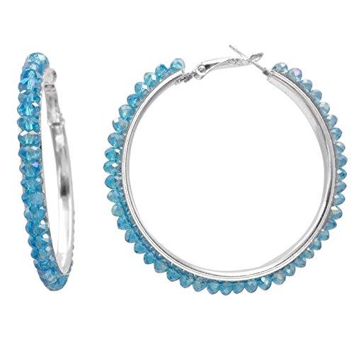 Large Blue Rhinestone - Beveled Glass Bead Silver Tone Hoop Earrings -Assorted Colors (Aqua Blue)