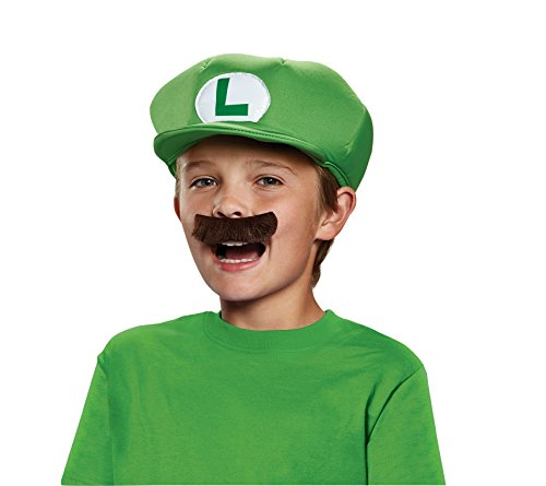 Nintendo Super Mario Brothers Luigi Child Hat and Mustache, One Size -
