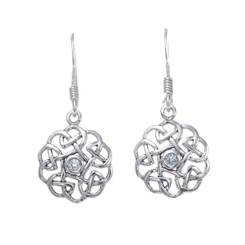925 Sterling Silver Round Celtic Knot Aquamarine Blue Topaz Dangle Earrings 12 mm - Nickel Free (Blue Topaz Lightweight Earrings)