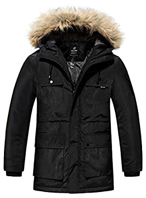 Wantdo Men's Warm Winter Coat Parka Thicken Insulated Puffer Jacket with Fur Hood