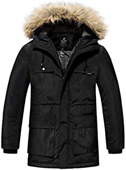 Wantdo Men's Insulated Parka Puffer Jacket with Fur Hood