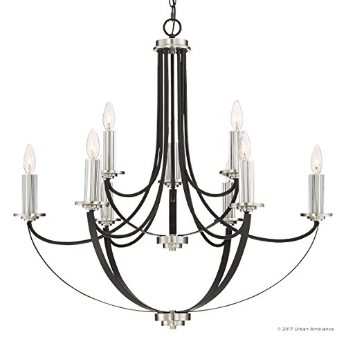 Luxury Mid-Century Modern Chandelier, Large Size: 31.5''H x 32''W, with Colonial Style Elements, Silver Trimmed Design, High-End Black Silk Finish and Exposed Bulbs, UQL2012 by Urban Ambiance by Urban Ambiance (Image #7)