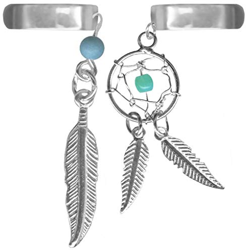 A-Set of Two Feather Ear Cuffs-One Dream Catcher and One Feather Cartilage No Pierce Clip On Cuff Earring