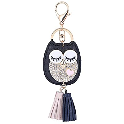 ZOONAI Women Cute Owl Tassel Keychain Car Keyring Holder Purse Handbag Pendant