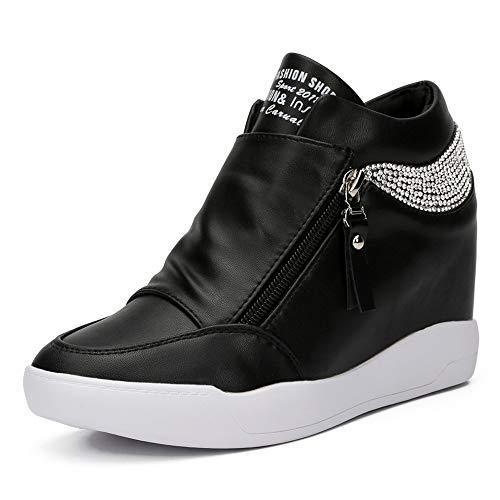 LIURUIJIA Women Hidden Wedges Ankle Boots Fashion Sneaker High Top Flats Platform Casual black-36(36/US6)