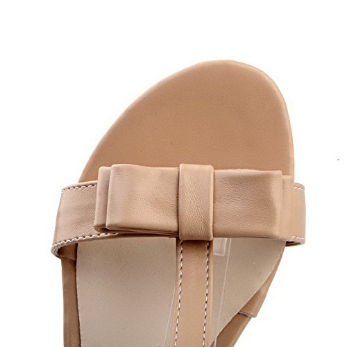 VogueZone009 Girls Open Toe PU Soft Material Solid Sandals with Bowknot and Metal Chain Apricot vw4FfuJ