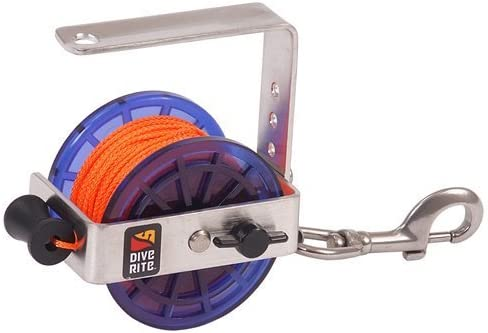 Dive Rite Cavern//Safety Reel 140ft #24 Line w// Stainless Steel Bolt Snap White