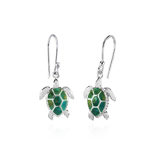 Sterling Silver Simulated Turquoise Turtle Animal Dangle Earrings (Silver Turquoise Earrings Sterling Turtle)