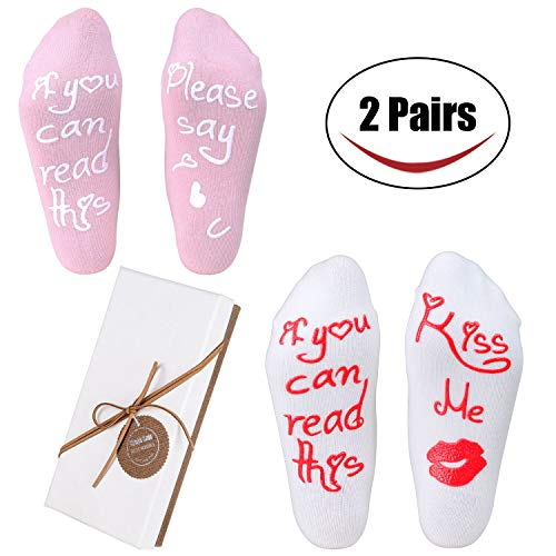 Funny Anniversary Gifts - Women's Socks with Funny Saying IF YOU CAN READ THIS,The Best Bachelorette Party,Birthday,Anniversary,Valentines Day Gifts Idea for Her (2 Pairs)