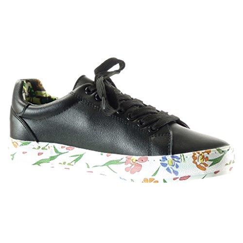 Angkorly - Chaussure Mode Baskets Tennis femme fleurs Talon plat 2 CM - Noir
