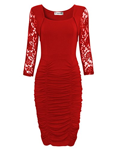 TAM WARE Womens Elegant Lace Long Sleeve Ruched Bodycon Midi Dress