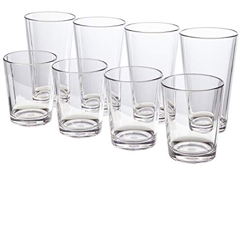 (Bistro Premium Quality Clear Plastic Tumblers | set of 8 | four 15-ounce and four 20-ounce)