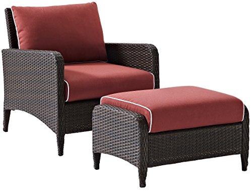 Crosley Furniture Kiawah 2-Piece Outdoor Wicker Seating Set with Sangria Cushions - Brown