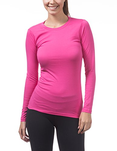 - Pro Club Women's Long Sleeve Crew Neck Tee, Medium, Hot Pink