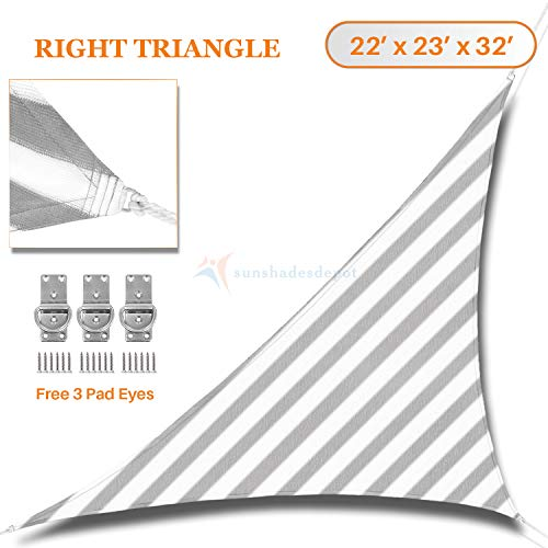 32' White Umbrella - Sunshades Depot 22' x 23' x 32' Knitted Curved Shade sail 180 GSM Right Triangle Permeable Canopy Pergolas Cartport Cover Gray Stripes and White Stripes Customize Commercial Grade