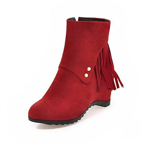 AllhqFashion Damen Reißverschluss Rund Zehe Blend-Materialien Rein Stiefel, Rot, 41