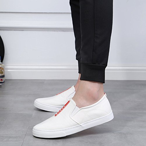 White HUAN Espadrilles Deck Shoes Students Loafers Mens Flat Shoes Casual Canvas Shoes 4xarPdwx
