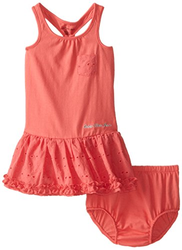 Calvin Klein Baby Girls' Dress with Eyelet On Skirt, Coral, 12 Months