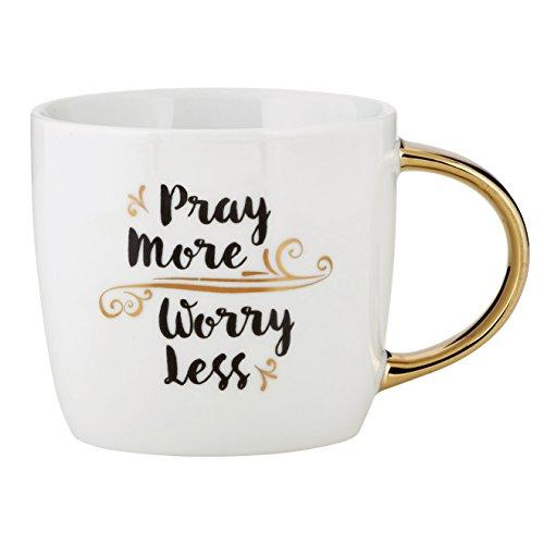 Pray More Worry Less Flourish 14 Ounce Ceramic Coffee Mug with Goldtone (Flourish Mug)