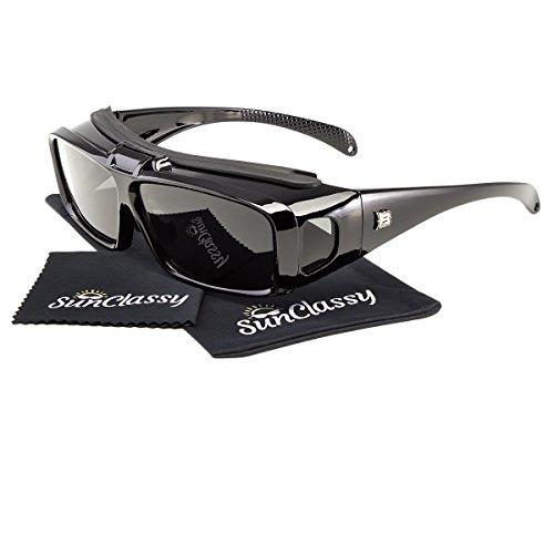 Sunclassy Mens Womens Black Polarized Sunglasses Fit Over Cover Wear Over Prescription Glasses Anti Glare Driving Wrap Around Driving Square Frame Motorcycle Block UVA UVB UVC - Sunglasses Cheap Cover