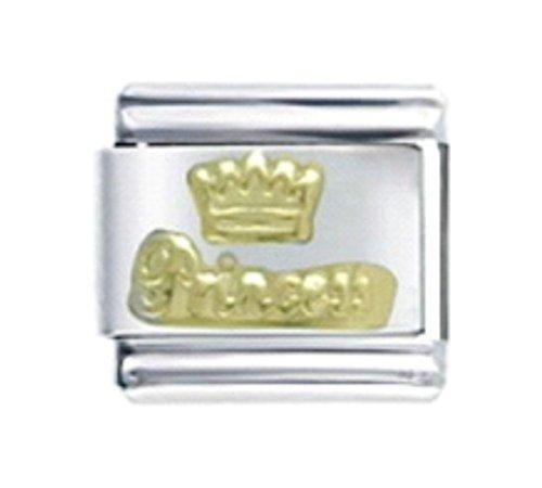 Stylysh Charms Princess Crown Gold Tone Enamel Italian 9mm Link NC133 ()