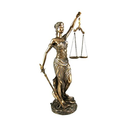 PTC 12 Inch La Justica with Scales and Sword Resin Statue Figurine ()