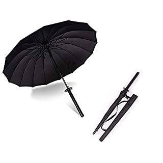 "38"" Inch tall Black 武士 Samurai Ninja Katana Umbrella Samurai Swords Umbrella Handle Creative Strong Windproof Semi-automatic Knife Umbrella Stylish Japanese Sun Rain Umbrella Decoration Gift B11781"