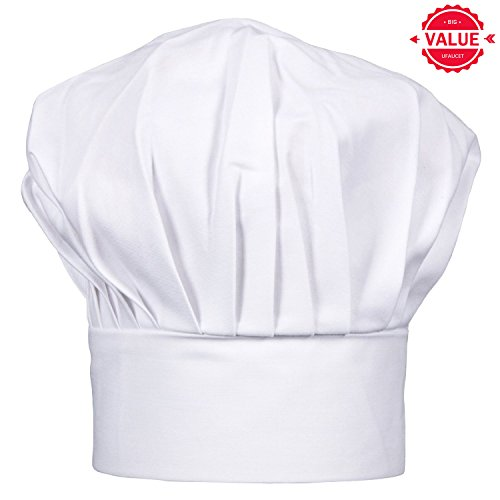 Ufaucet Professional Adjustable Party Kitchen Pastry Cooking White Chef Hat, Chef Hats for Adults