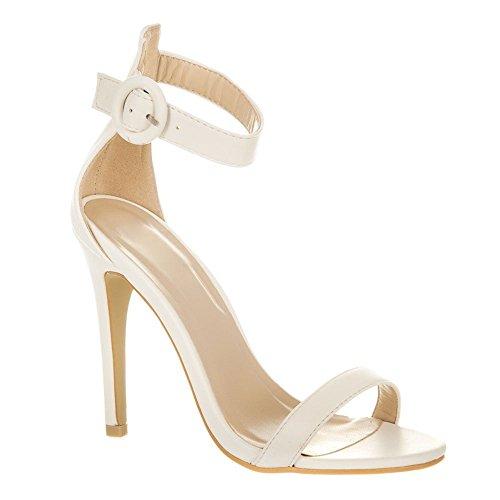 Belle. High Heel Open Toe Ankle Strap Sandal white matt