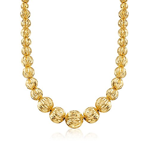 Ross-Simons Italian 8-17mm 18kt Yellow Gold Over Resin Fluted Bead (Resin Fluted)