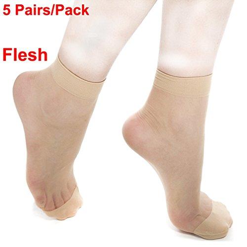 Hhlj 5Pairs Set Short Stockings Icy Crystal Silk Ultra Thin Female Socks Summer Hardcover Socks For 150 180Cm Tall Women  11 2In  Flesh