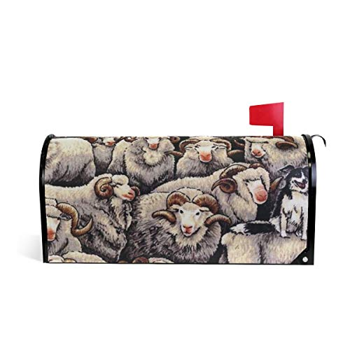 Gaz X Merino Sheep with Border Collie Dog Mailbox Covers Magnetic 20.8 x 18 inch Standard Size Decorative Waterproof, Fade Resistant