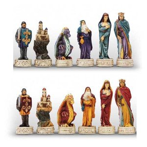 Italfama Medieval Hand Painted Polystone Chess Pieces ()