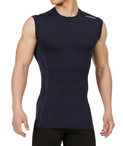 ARMEDES Men's Compression Unique Cool Dry Underlayer Skin Tight Performance Sleeveless Muscle T-Shirt NAVY,XXL