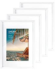 Cooper & Co. A3 Mat to A4 Chelsea Wooden Poster Photo Frames 4 Piece Set, White