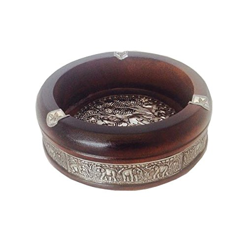 Vintage Ashtray Solid Wood Dark Brown Elephant Metal Craved 7 Inch Portable Retro Cigarette Holder For Smokers Art Modern Souvenir Gift