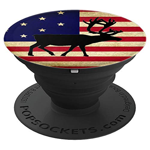 (Pop out Cell Phones holder reindeer USA American Flag - PopSockets Grip and Stand for Phones and Tablets)