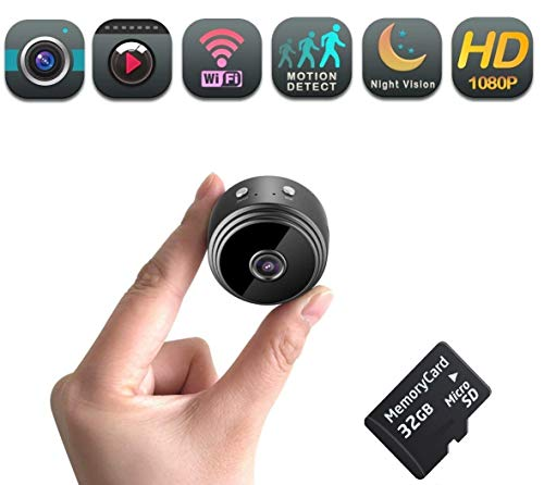 Mini Spy Security Camera WiFi   Hidden Magnetic Camera   32 gb Micro SD Card Included  Nanny Pet Body Dash Spy Cam   150 Degree Wide Viewing Angle   by DENT Products (Best Live Camera Feeds)