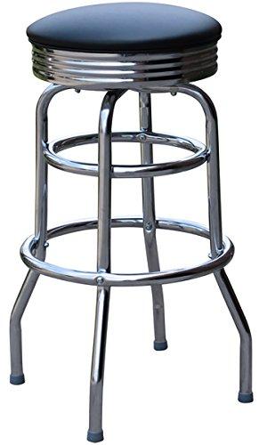 - Richardson Seating 0-1971BLK Retro Chrome Swivel Metal Bar Stool, Black