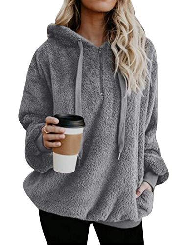 Haokan Abrigo de sudadera con capucha de la sudadera con capucha de la piel sintética de Hoode de las mujeres del tamaño extra grande sólido sólido (Color : Grey, tamaño : US-S)