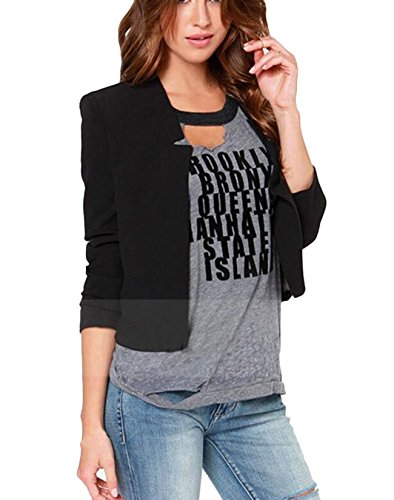 Women Long Sleeve Slim Suit Jacket Coat Black - 9