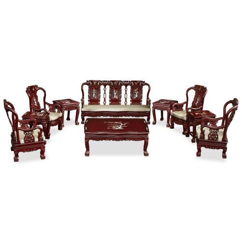 Rosewood Furniture China (China Furniture Online Rosewood Living Room Set, Imperial Court Design with Mother Pearl Inlay 10 Pieces Sofa Set Dark Cherry Finish)