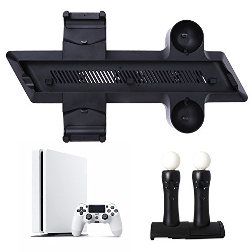 4 in 1 Multifunction Vertical stand Charging Dock Station Cooling Fan Cooler Charger base for Sony Playstation 4 PS4 - Hard Drive Kit Cooler