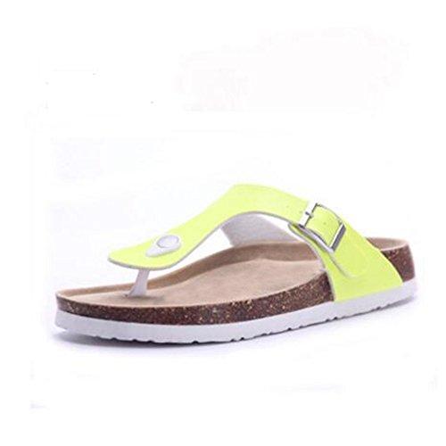 YaMiFan Women's Casual Buckle T Strap Thong Strap Sandals Flip Flop Platform Cork Sandals 9 11