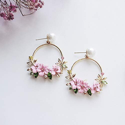 Majome 1 Pair Women Lady Girl Earrings Ear Stud Drop Pendant Cherry Blossoms Bead Fashion Gift