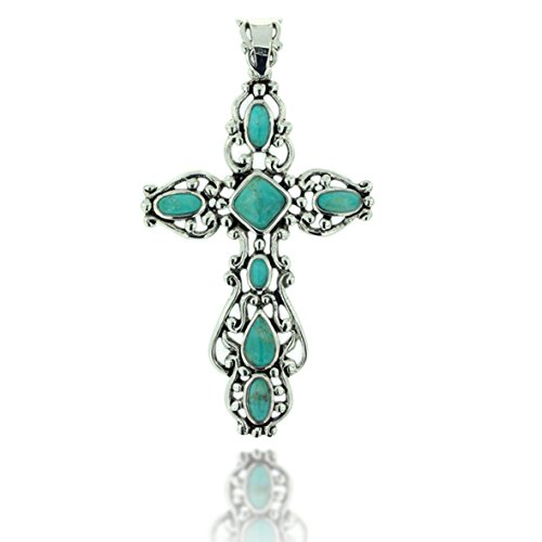 925 Oxidized Sterling Silver Blue Turquoise Gemstone Decorative Cross Pendant Oxidized Cross Necklace