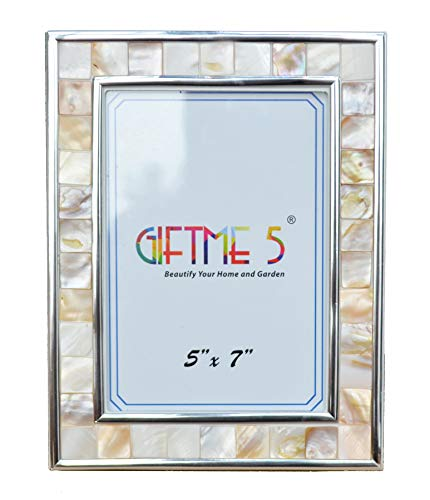 GIFTME 5 Silver Picture Frame 5x7 Mother of Pearl 5by7 Mosaic Photo Frame Display 7x5 Inch Photo Glass Tabletop Frame(Natural White)