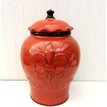 Amazon Com Tuscany Hand Painted Fleur De Lis Cookie Jar