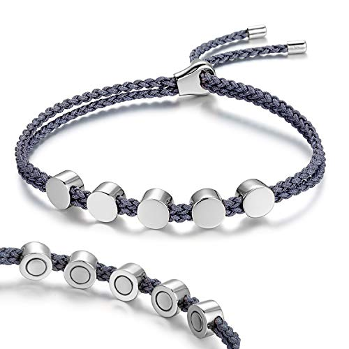 Rainso Womens 925 Sterling Silver Magnetic Bracelets for Arthritis Wristband (Sliver Gray) ()